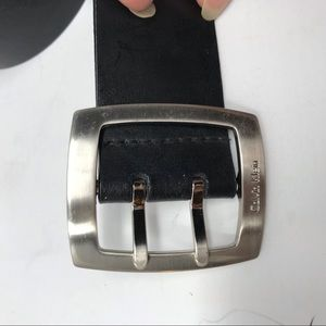 Calvin Klein Black Belt Beveled Silver Buckle